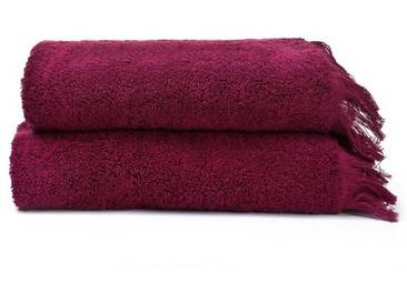 Casa di Bassi Handtuch Set »mit Fransen-Abschluss«, Abschluß mit Fransen, rot, rot