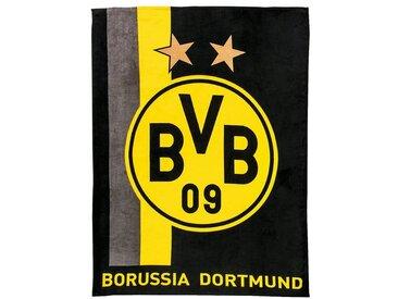Borussia Dortmund Fleecedecke BVB, mit Streifenmuster, schwarz/gelb, 150 x 200, gelb, gelb