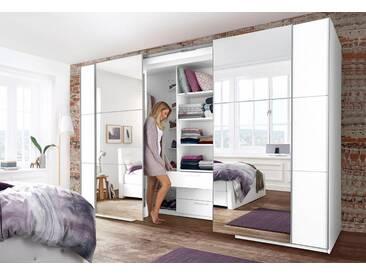 Schwebetürenschrank begehbar mit Spiegeltüren, Breite 315 cm, weiß