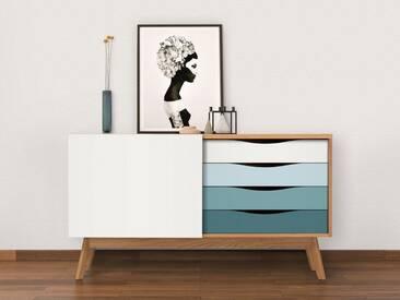 Woodman Sideboard »Hilla«, Breite 130 cm, blau, eiche/hellblau