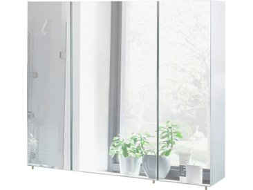 Schildmeyer Spiegelschrank »Basic«, Breite 90 cm, weiß, weiß glanz