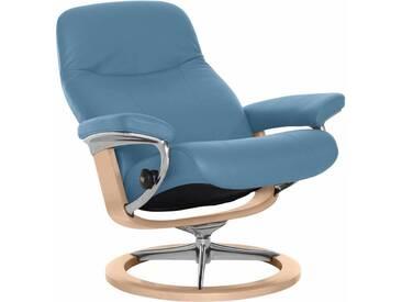 Stressless® Relaxsessel »Garda« mit Signature Base, Größe L, mit Schlaffunktion, blau, Fuß naturfarben, sparrow blue