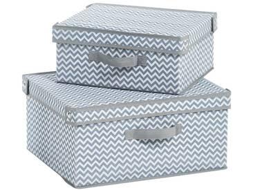 Zeller Present ZELLER Aufbewahrungsbox »M«, 2er Set, grau, grau/weiß
