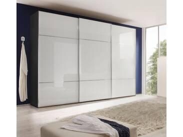 nolte® Möbel Schwebetürenschrank »Marcato 3« mit Fronten aus Weißglas, weiß, Korpus Graphit, Front Weißglas