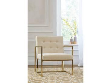 Guido Maria Kretschmer Home&Living GMK Home & Living Sessel »Silwai«, mit schönem vergoldetem Metallgestell und Samtpolsterung, Sitzhöhe 44 cm, natur
