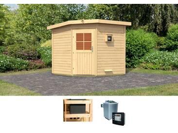 Karibu KARIBU Saunahaus »Hauke«, 231/231/226 cm, 9-KW-Ofen mit ext. Steuerung, natur, 9-kW-Ofen mit externer Steuerung, natur