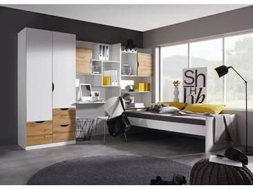 rauch Kinderzimmer-Set »Fosco« (4-tlg.), weiß, Set mit 2-trg. Schrank, weiß/eichefb. Wotan