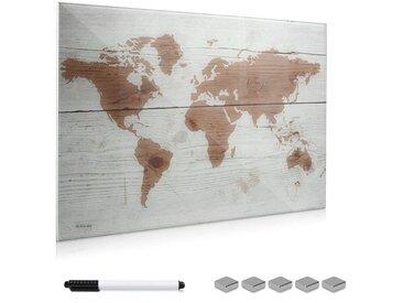 Navaris Magnettafel, Memoboard aus Glas - 90x60 cm Magnetwand zum Beschriften - Magnetische Tafel inkl. Magnete Stift Halterung - Weltkarte Design