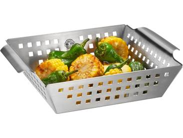 GEFU Grillschale »BBQ«, Edelstahl, (1-St), für Gemüse, Fisch, Rosmarinkartoffeln, silberfarben, 25 x 21,5 x 5,5 cm, silberfarben