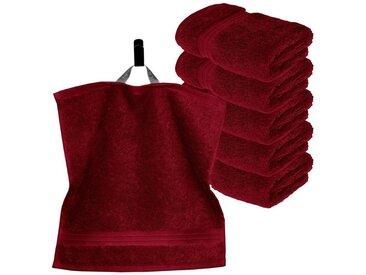 Lashuma Handtuch Set »Linz«, 6 Stück Kleine Gästehandtücher, Flauschige Waschlappen 30x30 cm, rot, rubinrot
