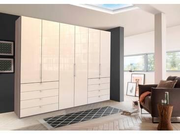 WIEMANN Panorama-Falttürenkleiderschrank »Loft«, Glasfront, natur, Höhe 236 cm, Breite 300 cm, 6-türig, Trüffeleichefarben/Magnolie Glas