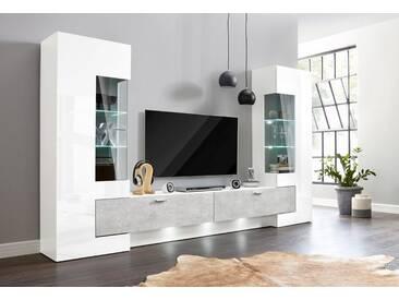 Wohnwand (3 Tlg.), Weiß, Ohne Aufbauservice, Weiß/weiß