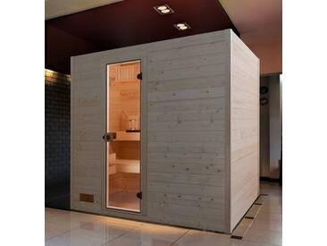 weka WEKA Sauna »Vaasa 3«, 237/187/203,5cm, 38 mm, 7,5-KW-Kombiofen, natur, 7,5-kW-Kombiofen mit externer Steuerung, natur