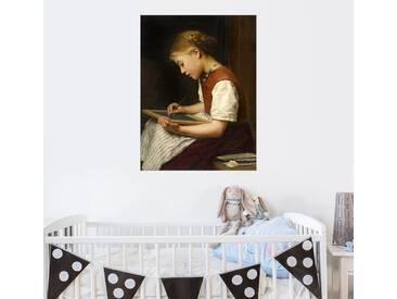 Posterlounge Wandbild - Albert Anker »Schulmädchen bei den Hausaufgaben«, braun, Holzbild, 120 x 160 cm, braun