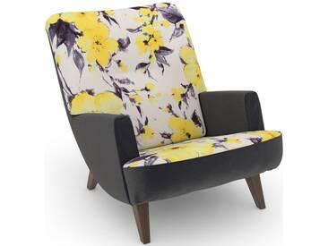 Max Winzer® build-a-chair Loungesessel »Borano« im Retrolook, zum Selbstgestalten, gelb, Korpus: Samtvelours anthrazit, Microvelours Blüte gelb