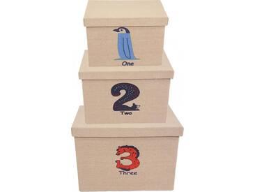 Franz Müller Flechtwaren Aufbewahrungsbox »Kids« (Set, 3 Stück), mit Deckel und Zahlenaufdruck, natur, 182226x283236x192225 cm, beige-bunt
