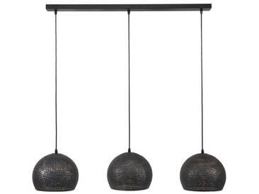 SalesFever Hängeleuchte 3 Lampenschirme Punsch Kugel »Tia«, schwarz, schwarz-braun