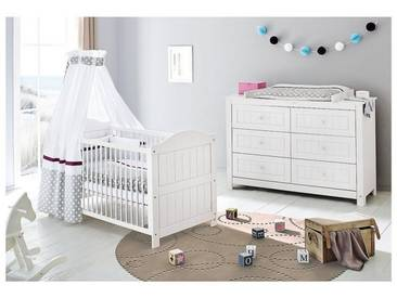 Pinolino® Sparset NINA extrabreit, (Kinderbett und extrabreite Wickelk, weiß, 70 x 140, weiß