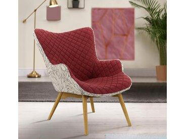 INOSIGN Sessel »Duke Print«, Karoprägung im Sitzbereich und Dekostoff auf der Rückseite, rot, ohne Hocker, rot