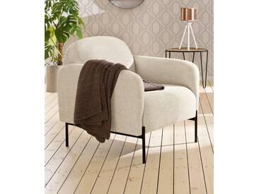 andas Sessel »Bold«, edles, skandinavisches Design, mit Stahlbeinen, natur, creme