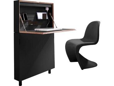Müller Sekretär »FLATMATE«, LED Leuchte und 2 USB-Dosen, schwarz, Schwarz mit Birkenkante