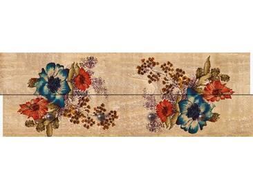 Artland Wandgarderobe »Riweda: Blumenbouquet auf Holzoptik«, 30 x 90 x 2,8 cm, Naturfarben