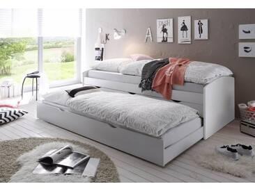 Funktionsbett Mit 2. Schlafgelegenheit, Weiß, Liegeflächen 90/200 Cm, Weiß