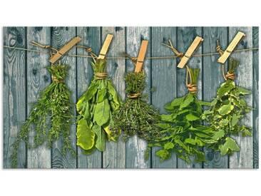 Artland Küchenrückwände »Team 5: Kräuter mit Holzoptik«, grün, 50x90 cm, Grün