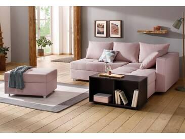 Home affaire Ecksofa »Italia« mit Bettfunktion, rosa, ohne Beistelltisch, rosé