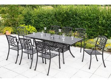 MERXX Diningset »Athos«, 9-tlg., 8 Sessel, 1 Tisch 160(204)x93 cm, Aluminium, grau, graphit