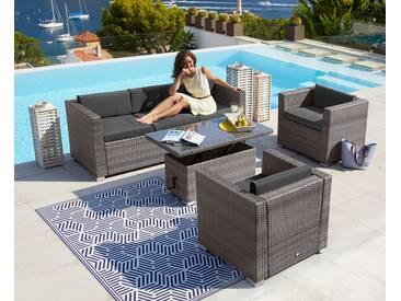 MERXX Loungeset »Bari Deluxe«, 14-tlg., 2 Sessel, 3er-Sofa, Tisch, Polyrattan, grau, grau