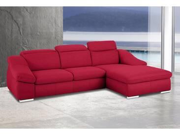 sit&more Ecksofa, rot, 280 cm, Recamiere rechts, rot