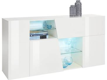 INOSIGN Sideboard in diagonalem Look, Breite 160 cm, weiß, Front weiss Hochglanz