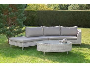 bella sole BELLASOLE Loungeset , 8-tlg., 2 Bänke, Tisch 130x79 cm, Polyrattan, cremeweiß, weiß, cremeweiß