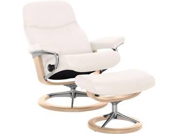 Stressless® Set: Relaxsessel mit Hocker »Garda« mit Signature Base, Größe S, mit Schlaffunktion, weiß, Fuß naturfarben, snow