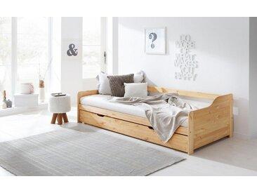 Home affaire Bett »Tim«, mit ausziehbarer Schublade für Zweitmatratze als Gästebett, natur, 90/200 cm, natur lackiert