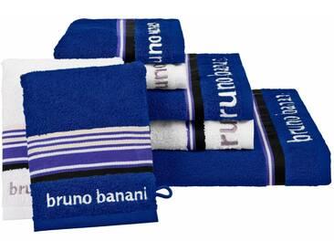 Bruno Banani Handtuch Set, »Maja«, mit farbiger Bordüre, blau, 7tlg.-Set (siehe Artikeltext), blau-weiß