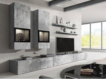 TRENDMANUFAKTUR Wohnwand »Baros«, (Set, 6-tlg), grau, beton-optik