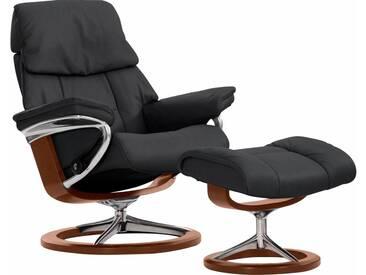 Stressless® Set: Relaxsessel mit Hocker »Ruby« mit Signature Base, Größe M, mit Schlaffunktion, schwarz, Fuß braun, black