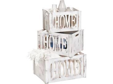 Zeller Present Zeller Aufbewahrungs-Kiste »Home«, Holz, weiß, Maße(B/T/H):(40/30/22), weiß