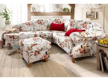 Home affaire Ecksofa »Mayfair«, mit Federkern, mit Blumenmuster, rosa, Ottomane links, Rose beige