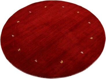 carpetfine Wollteppich »Gabbeh Uni«, rund, Höhe 15 mm, handgewebt, rot, rot