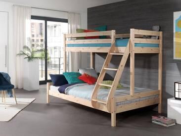 Vipack Furniture Etagenbett, mit Rolllattenrost, natur, Liegefläche 90x200 & 140x200 cm, Kiefer massiv natur geölt