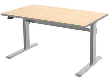 Wellemöbel Schreibtisch höhenverstellbar (elektrisch) 140 cm »Alto«, ahorn/grau