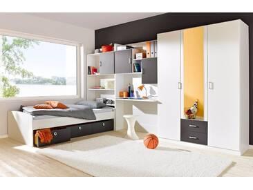 rauch PACK´S Jugendzimmer-Set »Flow«, 4-teilig, grau, 2-türig ohne Spiegel, weiß/graumetallic