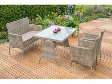 MERXX Gartenmöbelset »Trentino«, 7tlg., 2 Sessel, Bank, Tisch, stapelbar, Polyrattan, grau, grau