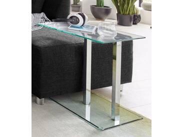HAKU Beistelltisch, in moderner Glasoptik, grau, Glas/chromfarben