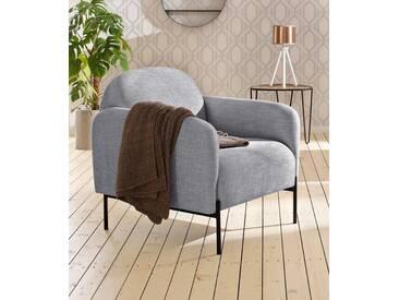 andas Sessel »Bold«, edles, skandinavisches Design, mit Stahlbeinen, grau, hellgrau