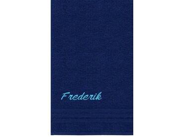 Lashuma Saunatuch »London«, Großes Frotteetuch Bestickt mit Name, Individuelles Badehandtuch 85x200 cm, blau, marine