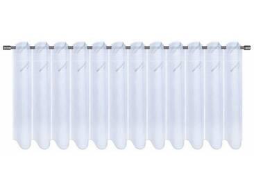 Gerster Scheibengardine nach Maß »PAOLA«, Durchzuglöcher (1 Stück), weiß, Durchzuglöcher, halbtransparent, weiß-silberfarben